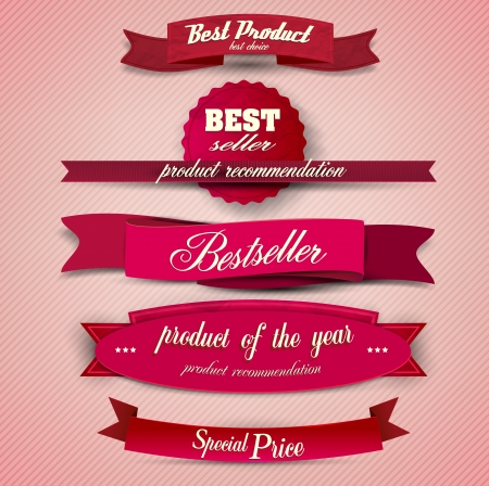 Bestseller. Set of Red Superior Quality and Satisfaction Guarantee Ribbons, Labels, Tags. Retro vintage style Vector
