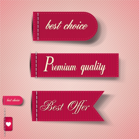 sewn: Set of Red Superior Quality and Satisfaction Guarantee Ribbons, Labels, Tags. Retro vintage style