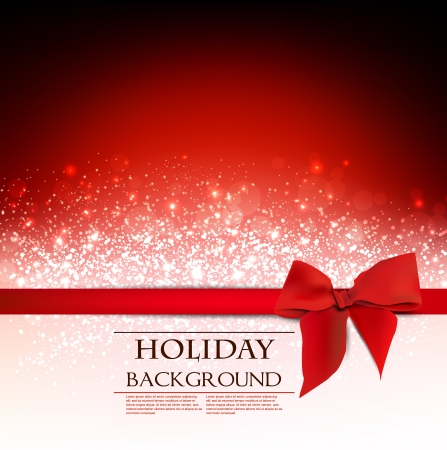 discount card: Elegant Holiday Red background with bow and place for text.