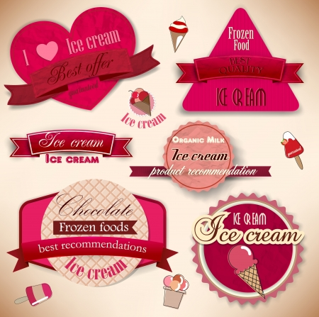helado cucurucho: Conjunto de insignias de la vendimia Tienda de helados y etiquetas Vectores