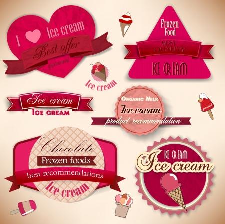 speiseeis: Set von Vintage-Eisdiele Abzeichen und Etiketten