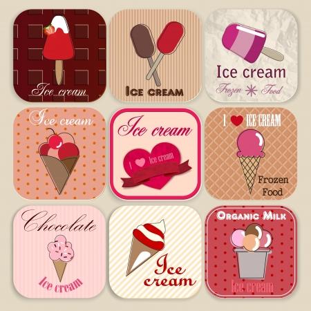 와플: 빈티지 아이스크림 가게 배지 및 레이블 집합