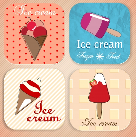 sundae: Set of vintage ice cream shop badges and labels Illustration