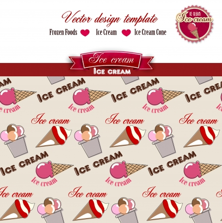 Ice cream.  Design Template. Seamless pattern.  Vector