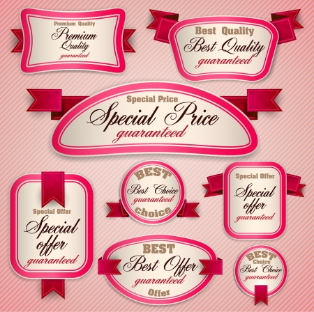 superior: Set of Superior Quality and Satisfaction Guarantee Ribbons, Labels, Tags. Retro vintage style
