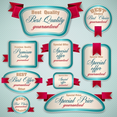 best choice: Set of Superior Quality and Satisfaction Guarantee Ribbons, Labels, Tags. Retro vintage style