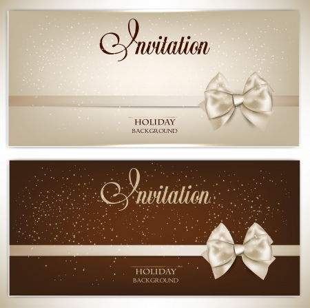 Gorgeous gift cards with white bows and copy space  Vector illustration Stock fotó - 19224309