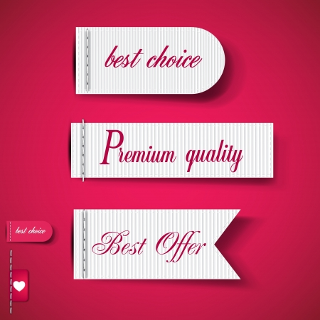 Set of Red Superior Quality and Satisfaction Guarantee Ribbons, Labels, Tags  Retro vintage style Vector