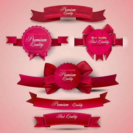bestseller: Set of Superior Quality and Satisfaction Guarantee Ribbons, Labels, Tags  Retro vintage style Illustration