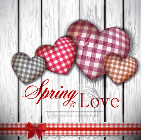 Red cloth handmade hearts on wooden background  Valentines day  Vector Vector
