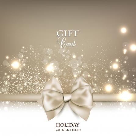 Carte-cadeau magnifique avec un arc blanc et de l'espace copie Vector illustration