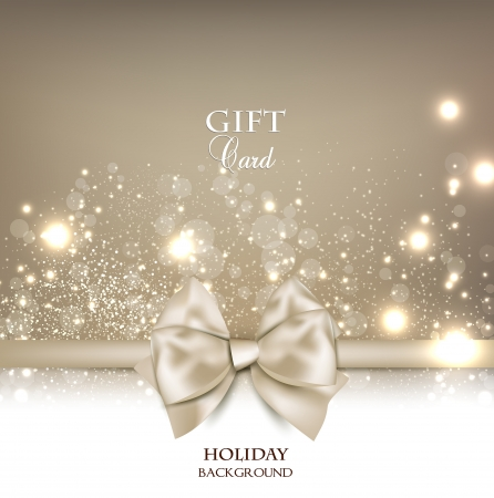 christmas menu: Gorgeous gift card with white bow and copy space  Vector illustration Illustration