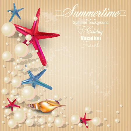 Vintage holiday banner with pearls and starfishes and place for text. Vector