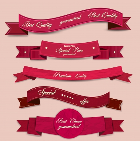 red tape: Set of Superior Quality and Satisfaction Guarantee Ribbons, Labels, Tags. Retro vintage style