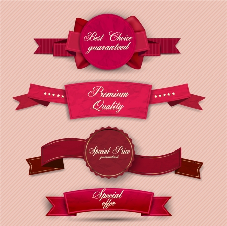 bestseller: Set of Superior Quality and Satisfaction Guarantee Ribbons, Labels, Tags. Retro vintage style