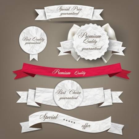 sale banner: Set of Superior Quality and Satisfaction Guarantee Ribbons, Labels, Tags. Retro vintage style