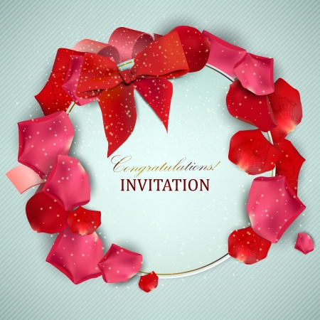 Beautiful vintage invitation with rose petals Stock Vector - 19846846