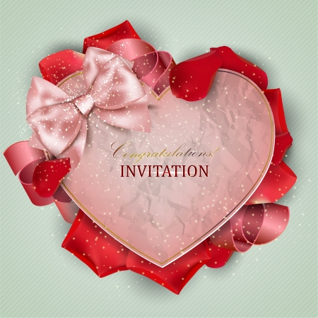 Beautiful vintage invitation with rose petals Vector