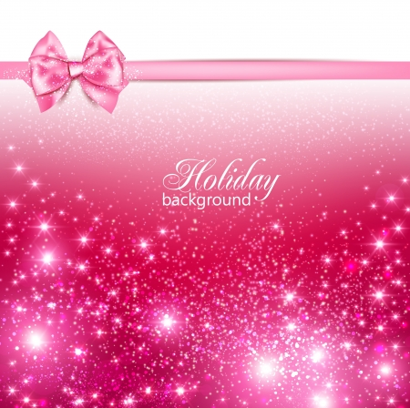 discount card: Gorgeous holiday background with pink bow and copy space. Vector illustration