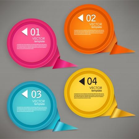 numbered: Set di bolle, adesivi, etichette, cartellini numerati fumetti template vettoriale per infografica Vettoriali