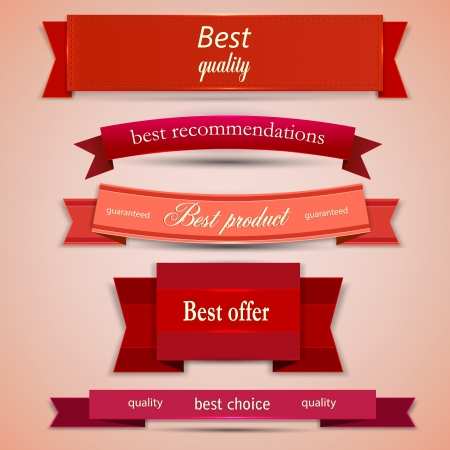 bestseller: Set of Superior Quality and Satisfaction Guarantee Ribbons, Labels, Tags.  Illustration