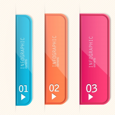 Set of bookmarks, stickers, labels, tags. Numbered banners. Vector template for infographics Vector