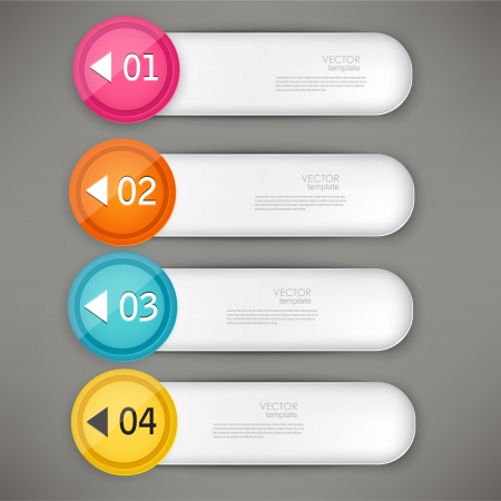 paper tags: Set of colorful bookmarks, stickers, labels, tags. Numbered banners. Vector template for infographics