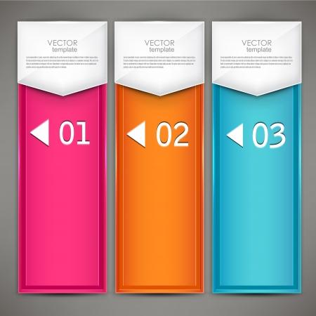 banner sign label background: Modern colorful numbered banners. Vector illustration.