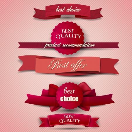 buono sconto: Set di qualit� superiore e Soddisfazione Nastri di garanzia, etichette, cartellini. Stile vintage retr� Vettoriali