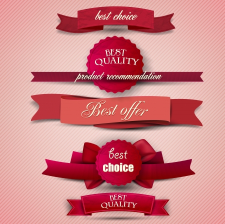 banner design: Set of Superior Quality and Satisfaction Guarantee Ribbons, Labels, Tags. Retro vintage style