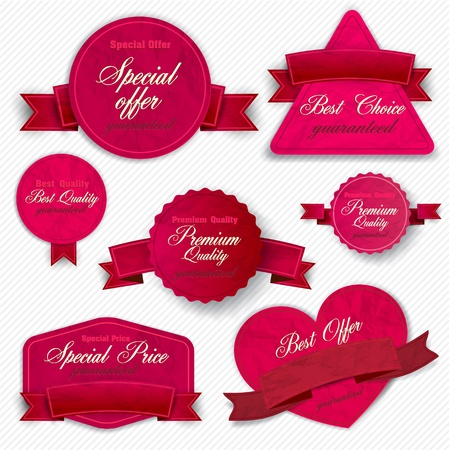 the coupon: Set of Superior Quality and Satisfaction Guarantee Ribbons, Labels, Tags. Retro vintage style