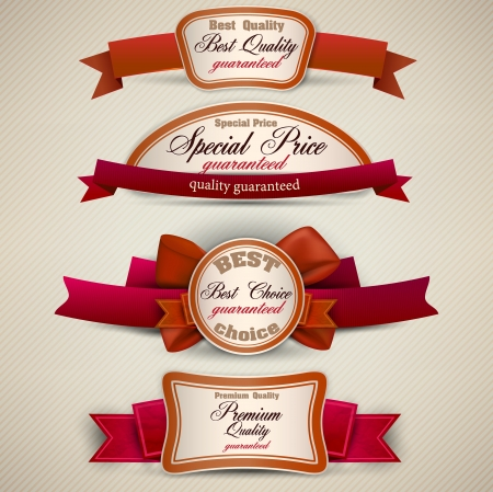 red ribbon: Set of Superior Quality and Satisfaction Guarantee Ribbons, Labels, Tags. Retro vintage style
