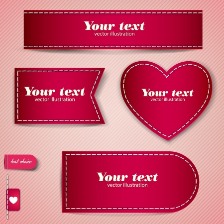 seam: Set of red bubbles, stickers, labels, tags. Vector template
