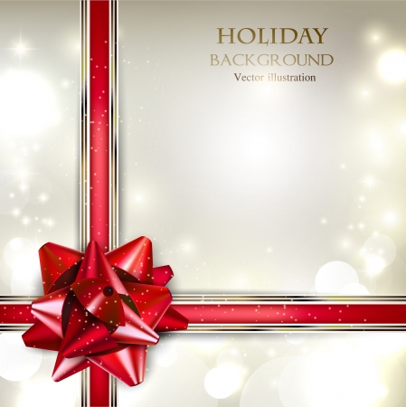 holiday greetings: Elegant Holiday background with red bow and place for text. Vector Illustration.