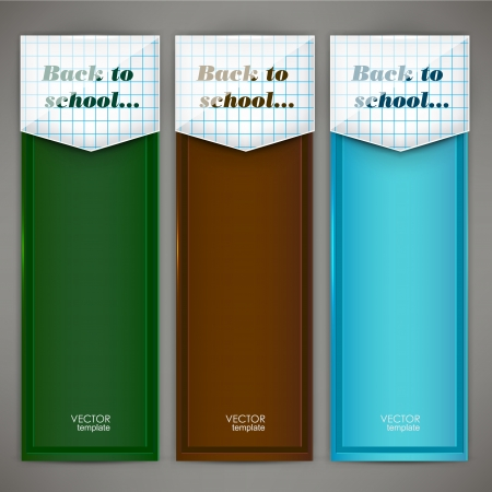 book mark: Set of colorful banners, arrows, bookmarks Back to school