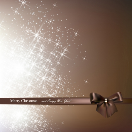 Elegant Christmas background with brown bow