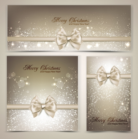 christmas gift tag: Holiday banners with ribbons. Vector background.