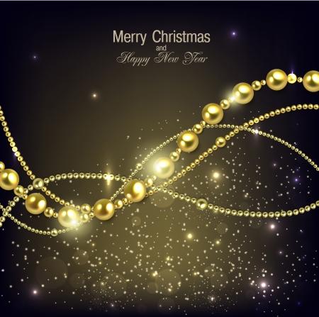 glitter ball: Elegant christmas background with golden garland. Vector illustration