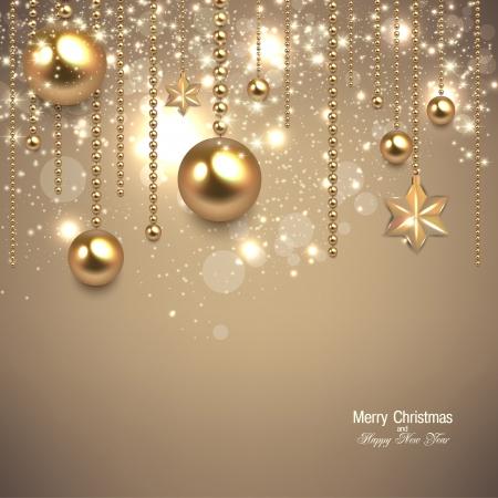 Elegante fondo de Navidad con adornos de oro y estrellas. Ilustración vectorial