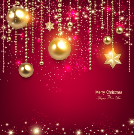 Elegant christmas background with golden baubles and stars. Vector illustration Çizim