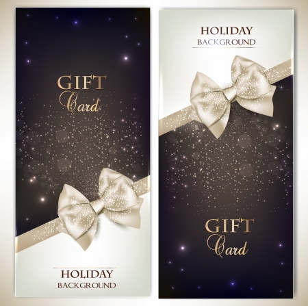 annotation: Holiday banners with ribbons. Vector background.