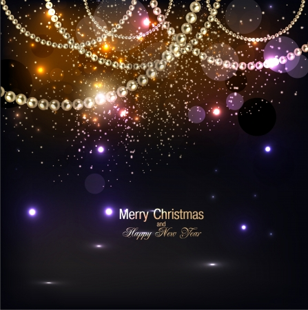 copyspace: Elegant christmas background with golden garland. Vector illustration