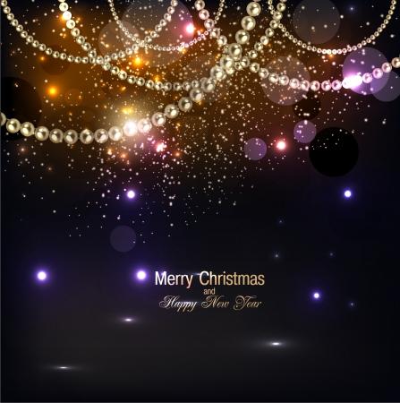 fondo elegante: Elegante fondo de Navidad con la guirnalda de oro. Ilustraci�n vectorial