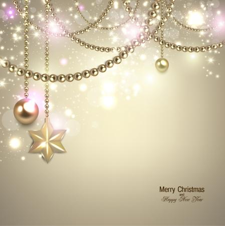 beige backgrounds: Elegant christmas background with golden baubles and stars. Vector illustration Illustration