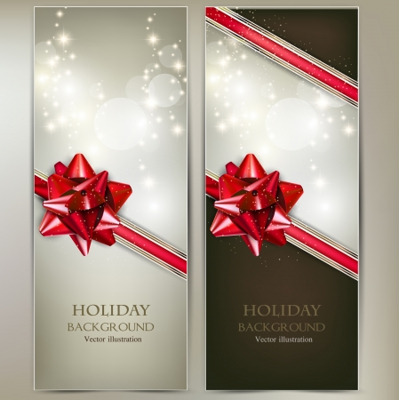 Greeting cards with red bows and copy space. Vector illustration Stock fotó - 22070575