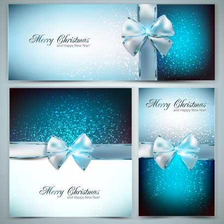 merry christmas text: Holiday banners with ribbons. Vector background.