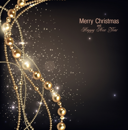 Elegant christmas background with golden garland. Vector illustration Stock Vector - 22123072