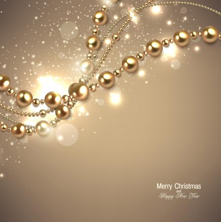 Elegante sfondo Natale con ghirlanda d'oro. Illustrazione vettoriale