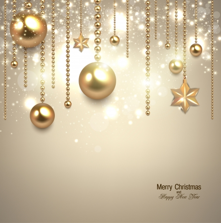 Elegant christmas background with golden baubles and stars. Vector illustration Иллюстрация