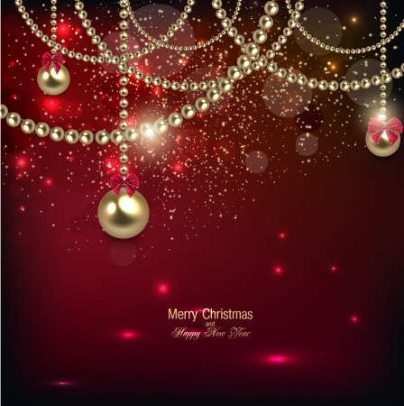 Elegant christmas background with golden baubles. Vector illustration Illusztráció